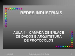 REDES INDUSTRIAIS AULA 4 CAMADA DE ENLACE DE