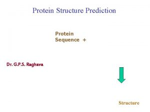 Protein Structure Prediction Protein Sequence Dr G P