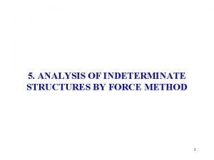 5 ANALYSIS OF INDETERMINATE STRUCTURES BY FORCE METHOD