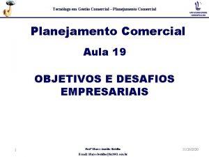Tecnlogo em Gesto Comercial Planejamento Comercial Aula 19