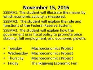 November 15 2016 SSEMA 1 The student will