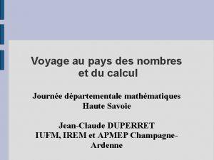 Voyage au pays des nombres et du calcul