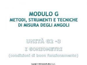 MODULO G METODI STRUMENTI E TECNICHE DI MISURA