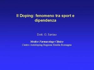 Il Doping fenomeno tra sport e dipendenza Dott