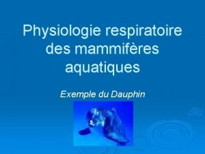 Physiologie respiratoire des mammifres aquatiques Exemple du Dauphin