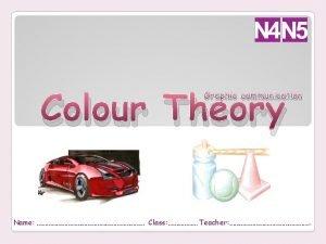 Colour Theory Graphic communication Name Class Teacher Colour