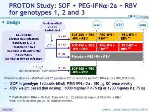 PROTON Study SOF PEGIFNa2 a RBV for genotypes