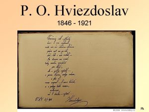 P O Hviezdoslav 1846 1921 Pk STRUN IVOTOPIS