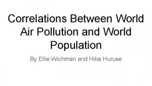 Correlations Between World Air Pollution and World Population