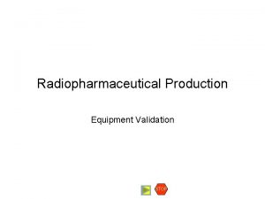 Radiopharmaceutical Production Equipment Validation STOP Equipment Validation Validation