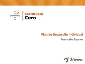 Plan de Desarrollo Individual Formato Anexo 1 Plan