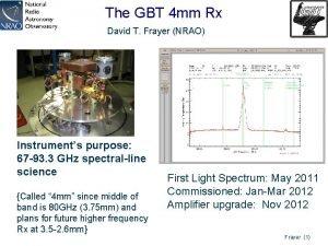The GBT 4 mm Rx David T Frayer