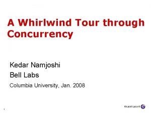 A Whirlwind Tour through Concurrency Kedar Namjoshi Bell