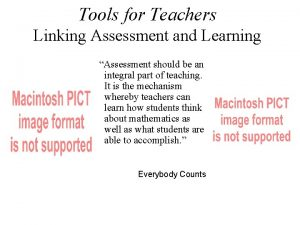 Tools for Teachers Linking Assessment and Learning Assessment