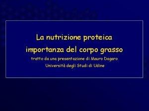 La nutrizione proteica importanza del corpo grasso tratto