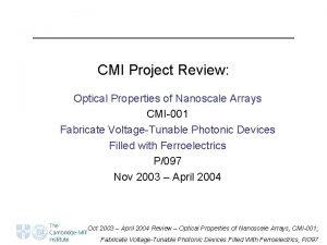 CMI Project Review Optical Properties of Nanoscale Arrays