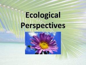 Ecological Perspectives ECOLOGICAL PERSPECTIVES A Biocentric bios life