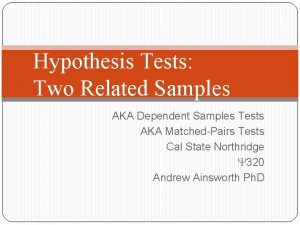 Hypothesis Tests Two Related Samples AKA Dependent Samples