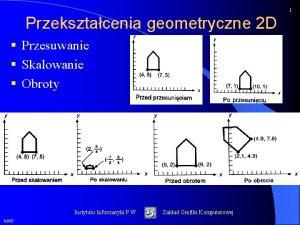 1 Przeksztacenia geometryczne 2 D Przesuwanie Skalowanie Obroty