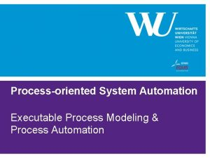 Processoriented System Automation Executable Process Modeling Process Automation