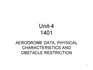 Unit4 1401 AERODROME DATA PHYSICAL CHARACTERISTICS AND OBSTACLE