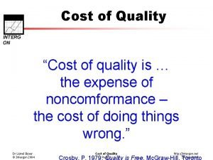 Cost of Quality INTERG ON Cost of quality
