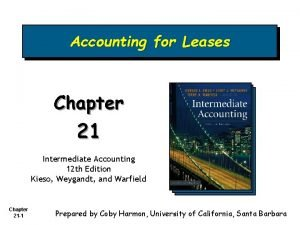 Accounting for Leases Chapter 21 Intermediate Accounting 12