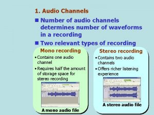 1 Audio Channels n Number of audio channels