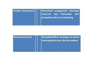 Standar Kompetensi Memahami penggunaan teknologi informasi dan komunikas