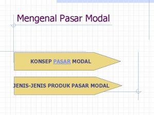 Mengenal Pasar Modal KONSEP PASAR MODAL JENISJENIS PRODUK