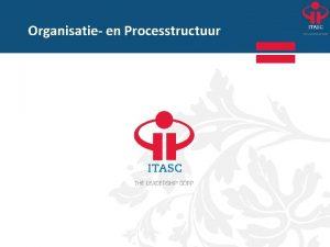 Organisatie en Processtructuur Organisatie en Processtructuur Inleiding in
