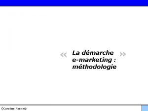 Caroline Roche La dmarche emarketing mthodologie La dmarche