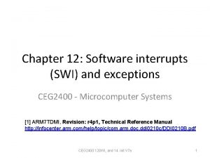Chapter 12 Software interrupts SWI and exceptions CEG