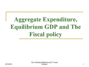 Aggregate Expenditure Equilibrium GDP and The Fiscal policy