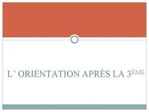 L ORIENTATION APRS LA 3ME APRES LA CLASSE