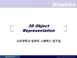 Graphics 3 D Object Representation cgvr korea ac