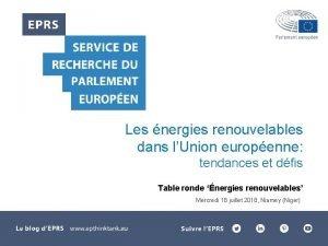 Les nergies renouvelables dans lUnion europenne tendances et
