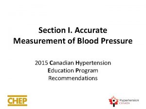 Section I Accurate Measurement of Blood Pressure 2015