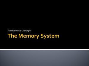 Fundamental Concepts The Memory System Some basic concepts