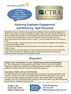 Colonial Total Rewards Association CTRA MEETING Nov 6