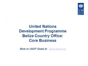 United Nations Development Programme Belize Country Office Core