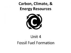 Carbon Climate Energy Resources Unit 4 Fossil Fuel