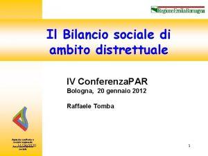 Area Innovazione Sociale Il Bilancio sociale di ambito