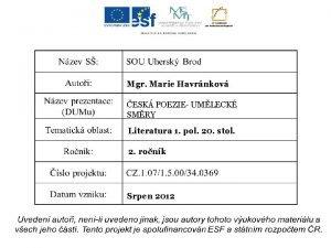 Mgr Marie Havrnkov ESK POEZIE UMLECK SMRY Literatura