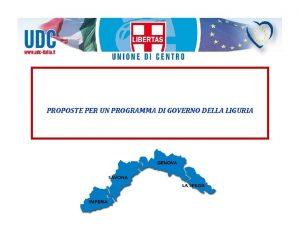 PROPOSTE PER UN PROGRAMMA DI GOVERNO DELLA LIGURIA