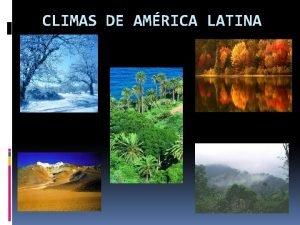 CLIMAS DE AMRICA LATINA CLIMAS CALIDOS El Clima