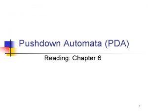 Pushdown Automata PDA Reading Chapter 6 1 PDA
