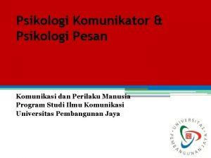 Psikologi Komunikator Psikologi Pesan Komunikasi dan Perilaku Manusia