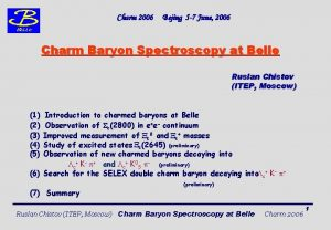 Charm 2006 Bejing 5 7 June 2006 Charm