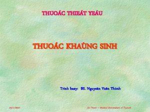 THUOC THIET YEU THUOC KHANG SINH Trnh bay